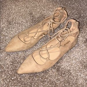 Suede lace-up nude flats